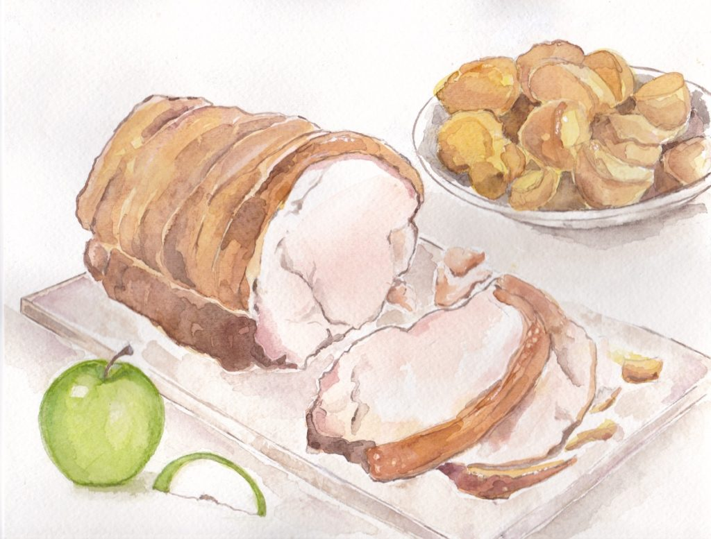Roast Pork with Crackling and Applesauce